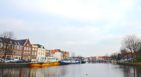 Canal with historical houses in Haarlem Royalty Free Stock Photo