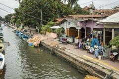Canal holandês em Negombo Fotografia de Stock