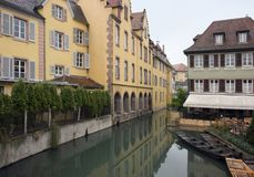 Canal and house facades in Colmar Royalty Free Stock Photo