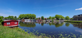 Canal with houseboats Royalty Free Stock Photography