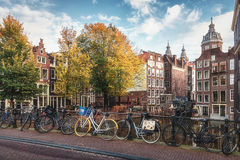 The canal houses along the junction of the canals Oudezijds Voor Royalty Free Stock Photography