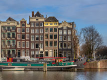 Canal houses on the Amstel Amsterdam Royalty Free Stock Images