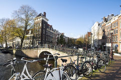 Canal houses in Amsterdam Stock Photos