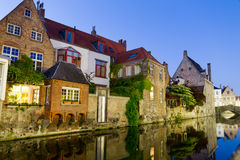 Canal and houses at Bruges, Belgium Royalty Free Stock Images