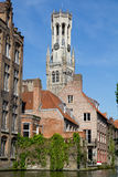 Canal and houses at Bruges, Belgium Royalty Free Stock Photo