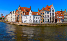 Canal and houses at Bruges, Belgium. View of canal and houses at Bruges, Belgium Stock Photography