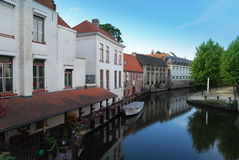 Canal & houses in Bruges Royalty Free Stock Image