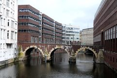 Canal houses in Hamburg Royalty Free Stock Photography
