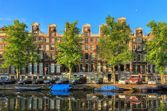 Canal houses summer green Stock Photo