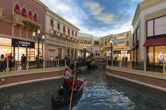 The canal inside of the Venetian hotel in Las Vegas. Royalty Free Stock Images