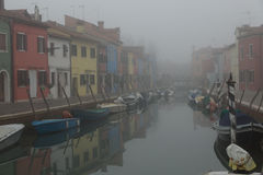 Canal on the island of Burano Stock Photo