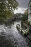 Canal Junction on the Groenerei canal Bruges Stock Photo