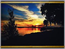 Canal Lachine warm view  of the magnificent sunset. Royalty Free Stock Photos