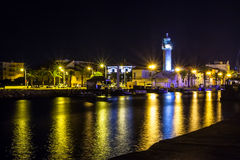 Canal in Le Grau du Roi at night, Camargue Stock Photography