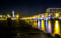 Canal in Le Grau du Roi at night, Camargue, France Royalty Free Stock Images