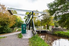 Canal Lift Bridge. The Monmouthshire and Brecon Canal, Talybont on Usk, Wales, United Kingdom Royalty Free Stock Photography