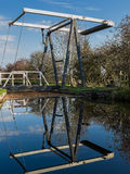 Canal Lift Bridge. Lift bridge over the Llangollen Canal, reflected in the water. Whixall, Shropshire, England Stock Photos