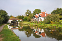 Canal Lock And Bridge In England Stock Images