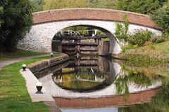 Canal Lock and Bridge in England Stock Photo