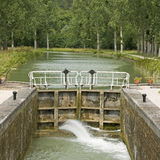 Canal lock. Canal Bourgogne. France Stock Photography