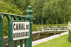 Canal lock from Canal de Bourgogne. Stock Image