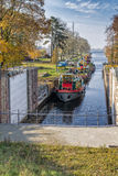 Canal lock / Floodgate / lock Statek na rzece Royalty Free Stock Photo