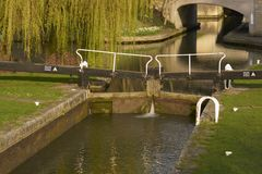 Canal Lock Gate. Lock gates on the historic Kennet and Avon canal running through the historic city of Bath in Somerset, England, United Kingdom Royalty Free Stock Images