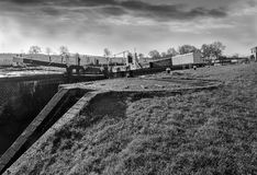 Canal Lock Gate In Black And White. Royalty Free Stock Photo
