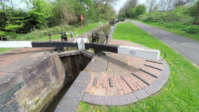 Canal lock gates stock video footage