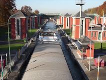 Canal lock in Hannover Germany stock video