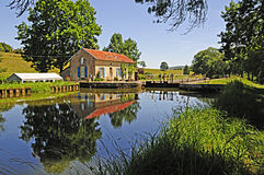 Canal Lock House. Lock and house on the Dijon canal in Burgundy France royalty free stock photo