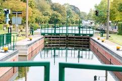 Canal lock, lock. This old lock in Mülheim an der Ruhr was restored in 2014 Stock Photos