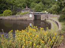Canal lock and moorings Stock Photo