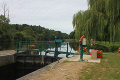 Canal Lock on the Nantes to Brest Canal. Floral Canal Lock on the Nantes to Brest Canal Stock Photo
