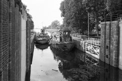 Canal lock in Przegalina. Gdansk Sobieszewo Przegalina, Poland, 16 September, 2012 - Northern Canal lock in Przegalina - view towards the Dead Vistula. Photo Royalty Free Stock Images