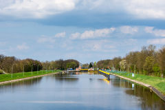 Canal lock on the river Weser near Sebbenhausen Royalty Free Stock Photography