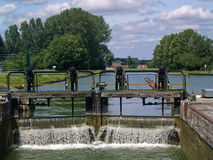 Canal Lock Sluice Gate, France. View of Canal Lock Sluice Gate in rural France Royalty Free Stock Photography