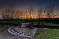 Canal Lock at sunset Royalty Free Stock Photos