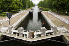 Canal locks with a jet ski Stock Photo