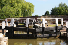 Canal locks on a sunny day Stock Photos
