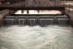 Canal locks and waterfall downtown Luzern, Switzerland. Stock Photography