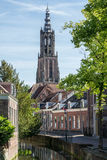 Canal and Long John church tower in Amersfoort, Netherlands Stock Photography