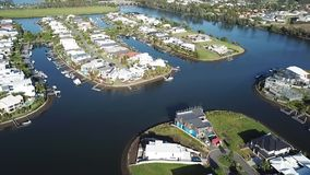 Canal lots Gold Coast Boat RiverLinks Estate next to Coomera River Hope Island, stock video