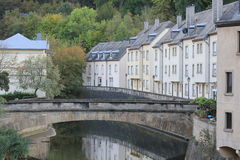 Bridge and Canal in Luxembourg. Narrow Water Canal in Grunt, Luxembourg Royalty Free Stock Images