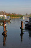 Canal marina with narrow boats Royalty Free Stock Images