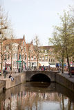 Canal and market place over bridge in Oudewater Royalty Free Stock Photo