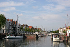Canal in Middelburg, Holland Stock Photos