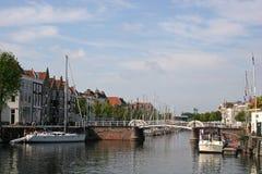 Canal in Middelburg, Holland Stock Photos