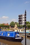 Canal mileage signpost and narrowboat, Stratford-upon-Avon. Stock Images
