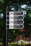 Canal mileage signpost, Stratford-upon-Avon. Royalty Free Stock Image